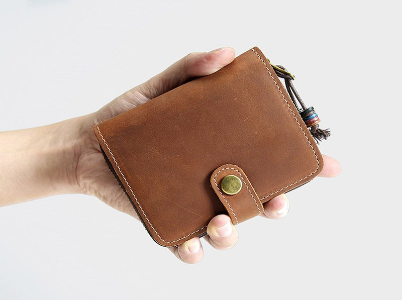 Handmade Genuine Leather Fold Wallet for Both Women and Men