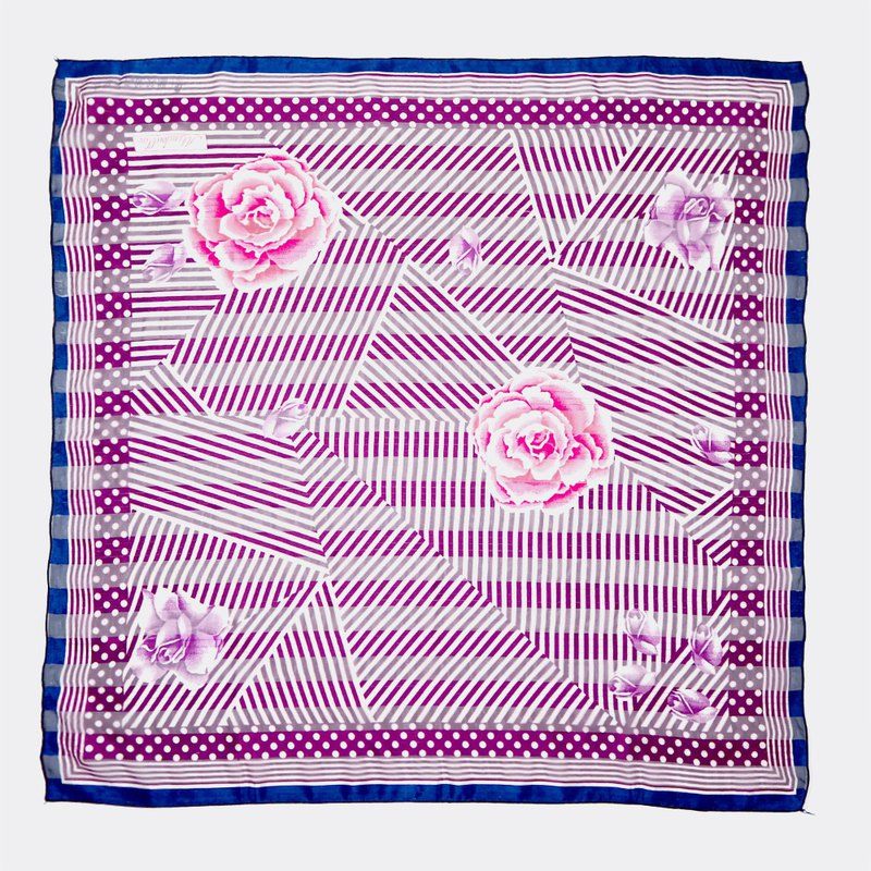 Striped perspective dot line retro peony antique silk scarf BO0018