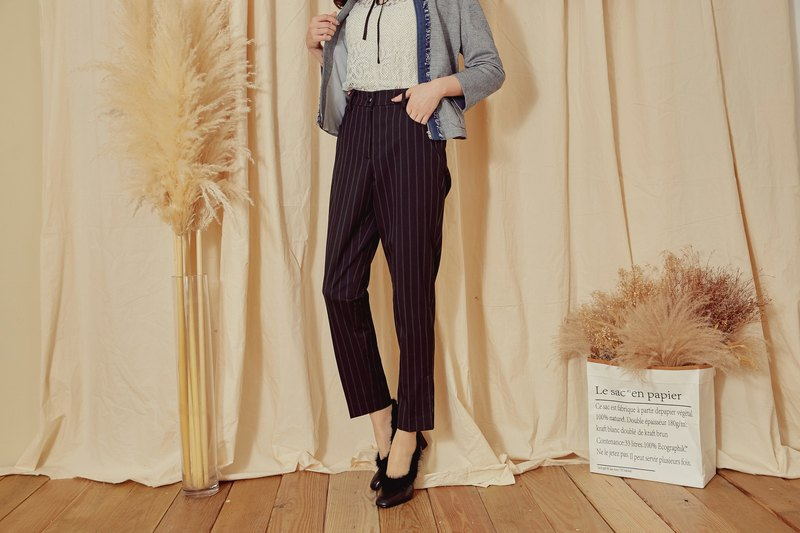 MIT textured striped trousers (R6060C)