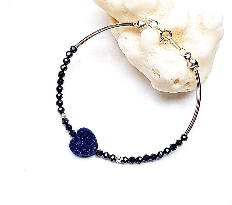 <Pet Love Series - Beginning Heart> Black Spinning Natural Crystal Cluster Crystal Bud Plating 925 Sterling Silver Bracelet