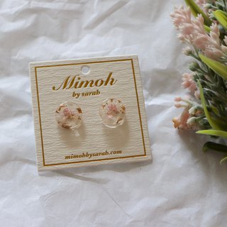 Pink Pressed Flower Clear Earrings with Gold Leaf