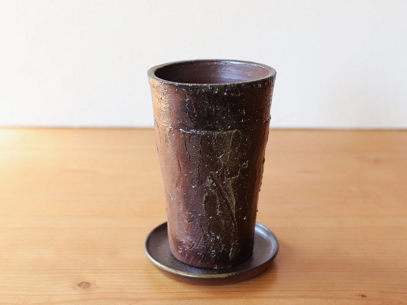 Bizen potted flower pot [with saucer] u-049