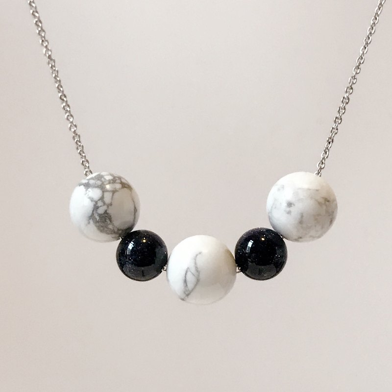 Wenqing Simple · White Turquoise Beads · Blue Sandstone · Rhodium-plated Copper Chain Necklace (45cm) Gift