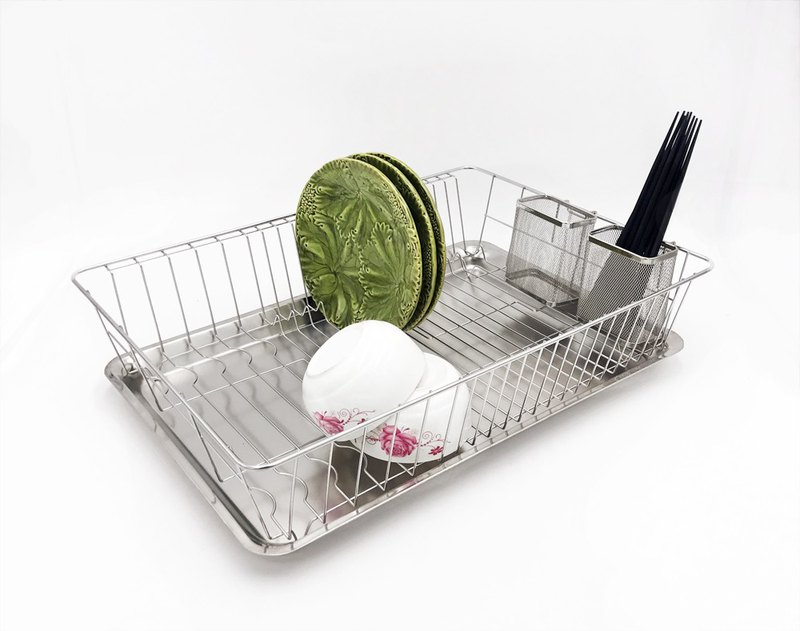 Stainless steel large size design bowl basket with chopsticks basket two bowl racks drain rack cutlery rack dish rack