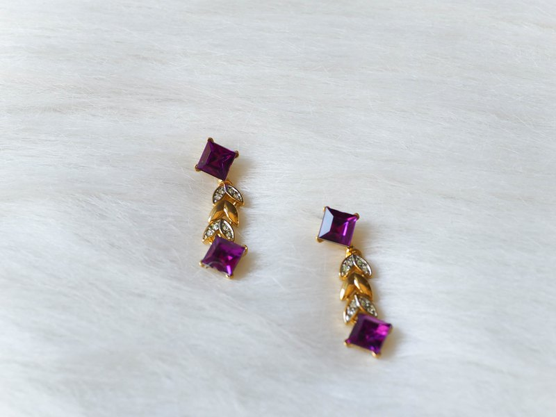 Soft wind quality light purple spring and time antique jewelry ear pin jewelry earrings piercing earrings