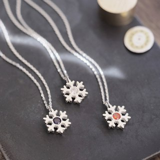 stone Snowflake Long necklace 925 Silver