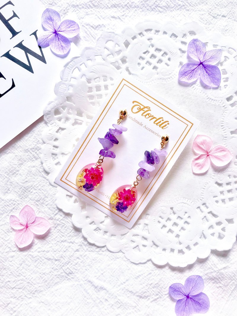 Handmade Chiyo Purple Crystal flower 18K Gold Plated earring