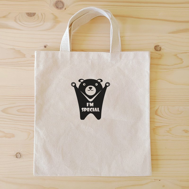 Taiwan black bear flat tote / book bag