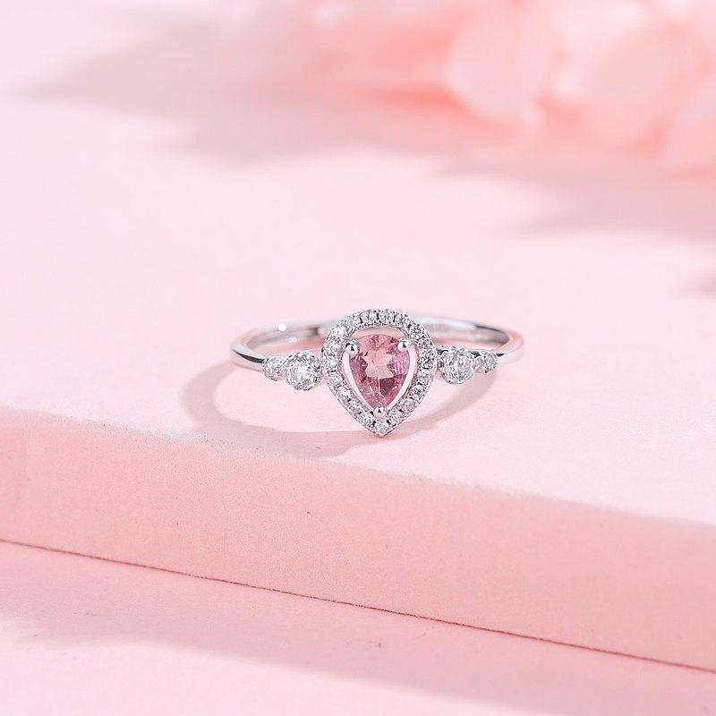 粉紅碧璽4mm925純銀精鍍亮澤白金圈戒指