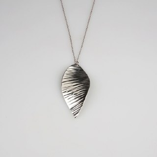 Pure tin leaf necklace (ripples)