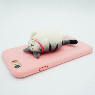 MoonMade Needle Felting Cat Phone Case, Wool Felt Gray Tabby Cat Phone Cover, 3D Cat Lie on Phone Shell Birthday Gift for Iphone X 6 7 8 Plus Samsung LG