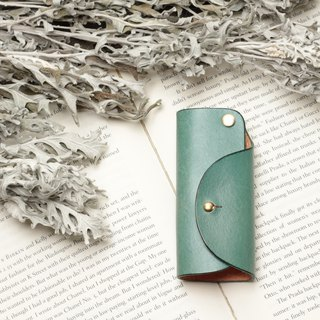 Minimal marine blue hand dyed yak leather handmade copper hardware key case