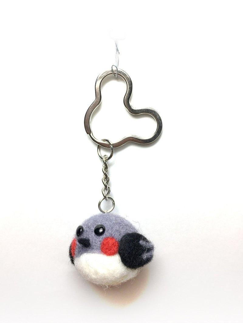 羊毛氈  可愛胖鳥  鑰匙圈  吊飾 (灰/白)