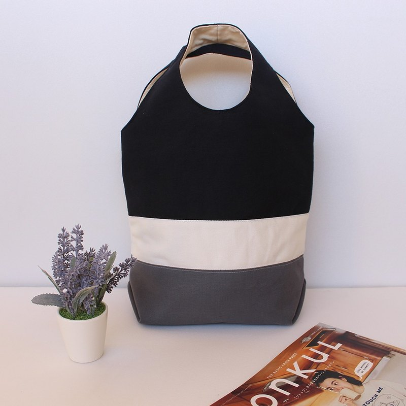 Splicing color block magnetic buckle handbag - black and white / tote bag