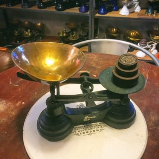 British made Librasco green cast iron balance scales in the 1940s