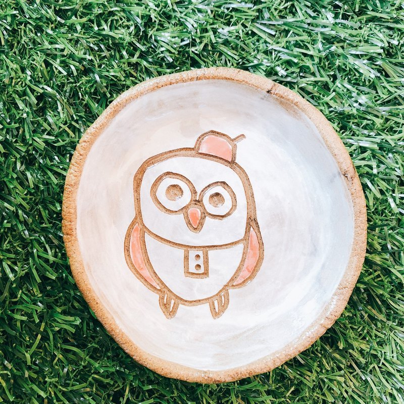 E-06 Owl hand-cranked dish │ 吉野鹰x soy sauce dish tableware table plate