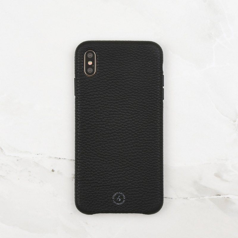 iPhone Xs Max trilateral bag back shell spot (Litchi black)