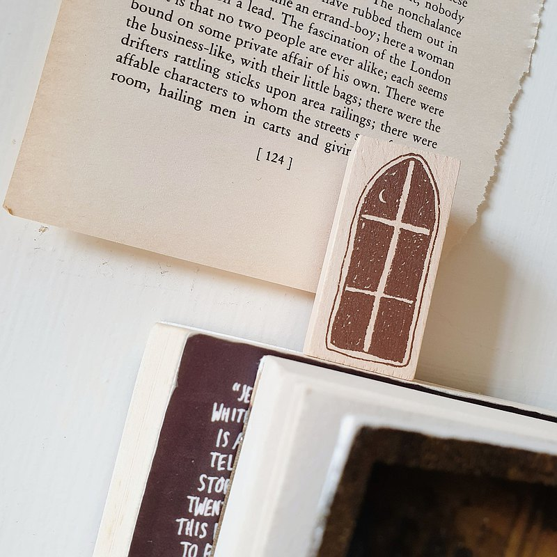 window rubber stamp for journaling