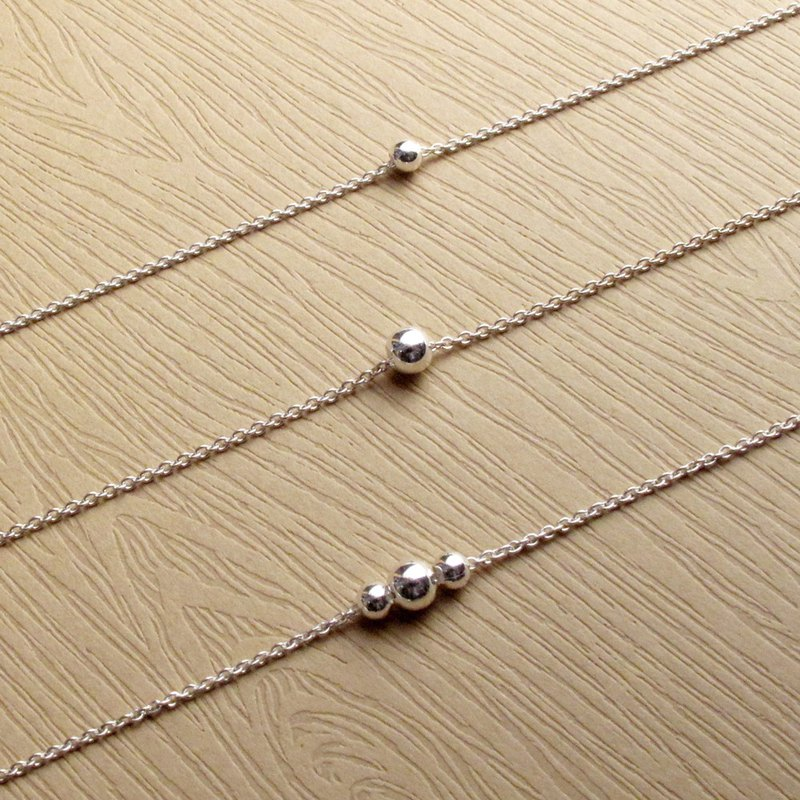 Geometric Geometry 3/4mm sterling silver single 1 or 3 beads necklaces set(2in1)