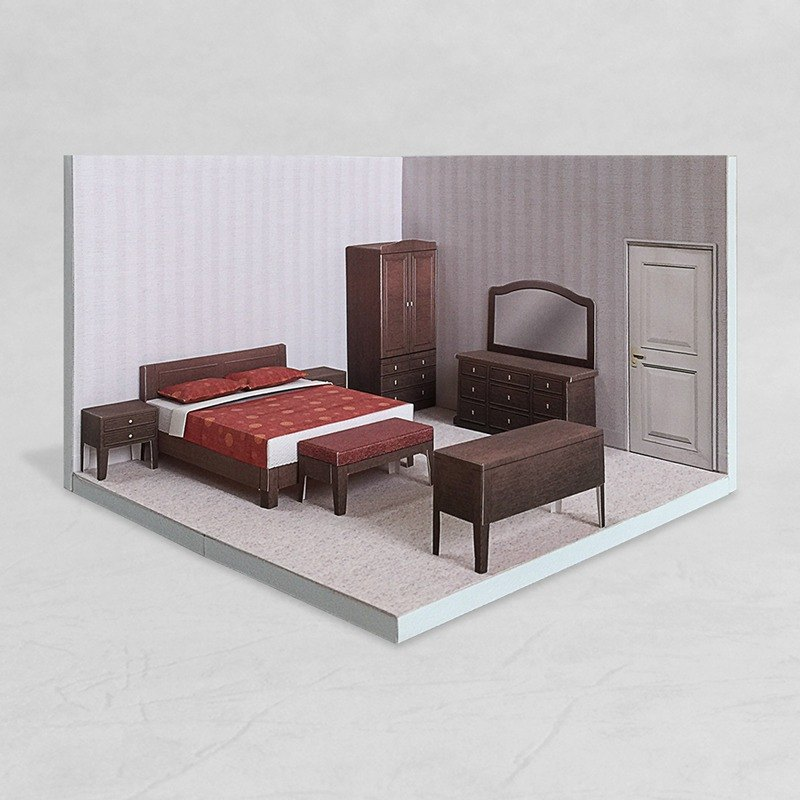PaperCraft - Bedroom #002 - DIY dollhouse paper model