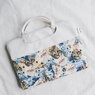 All the places are cats - color matching fabric laptop bag (13-14 吋) / 815a.m
