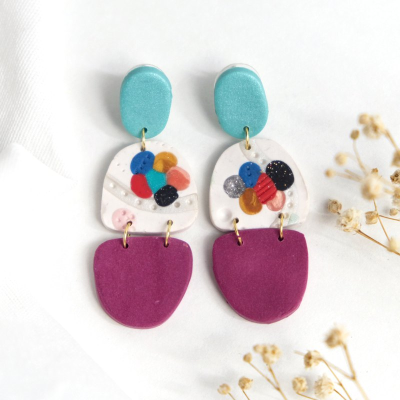 Soft ceramic earrings pop art style special oval drop ear pin ear clip