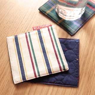 MILKTEALOGY handmade cotton coaster - stripe