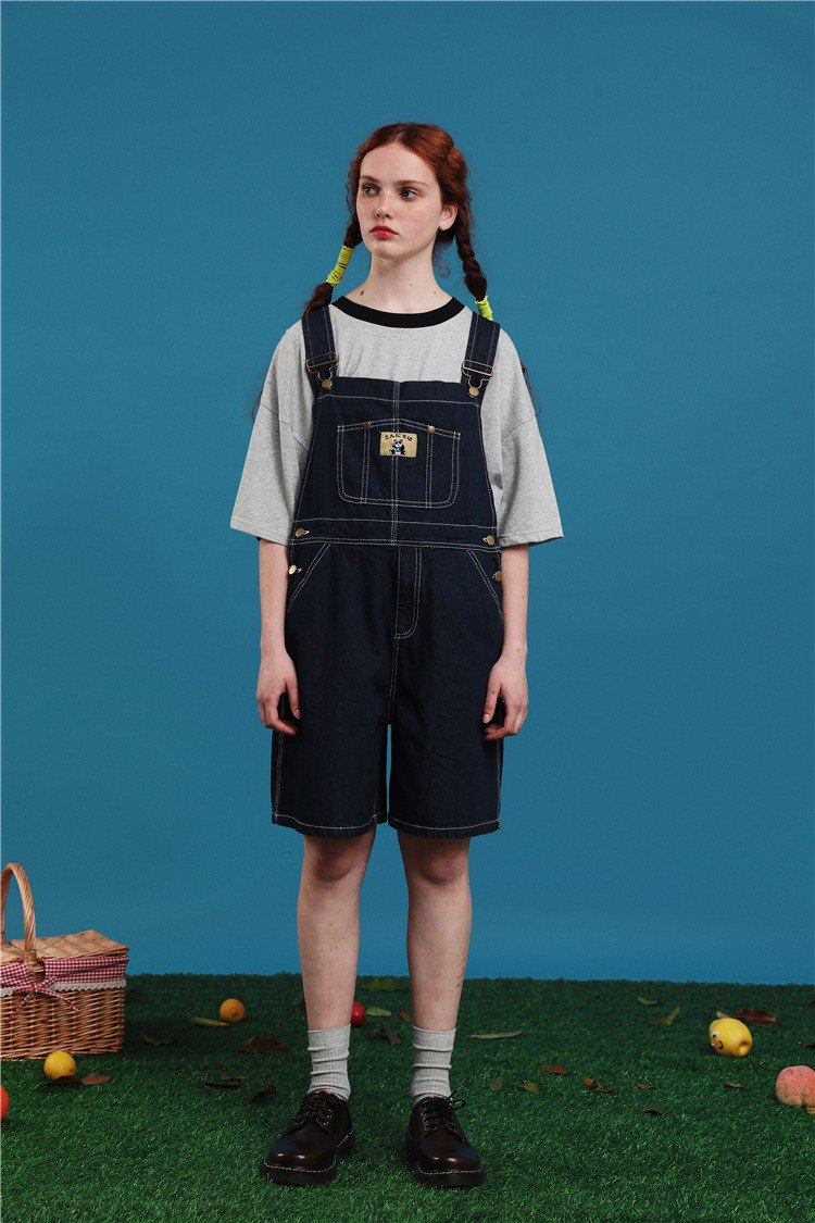 PRODBLDG strap denim shorts 2019 summer new vintage sense girl jumpsuit students age five pants