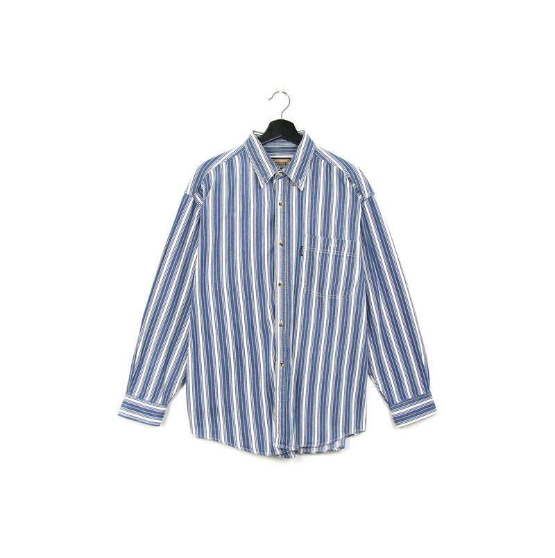 Back to Green:: striped shirt denim yellow and white stripes / / vintage shirt