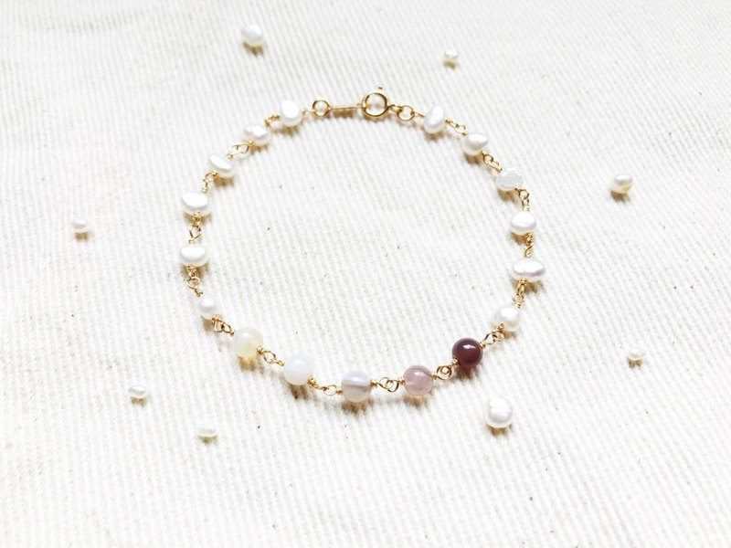 :: Small Mines :: Forest Girl Natural Stone Pearl 14K Gold Bracelet