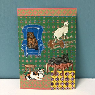 Carpet is very beautiful cat house postcard