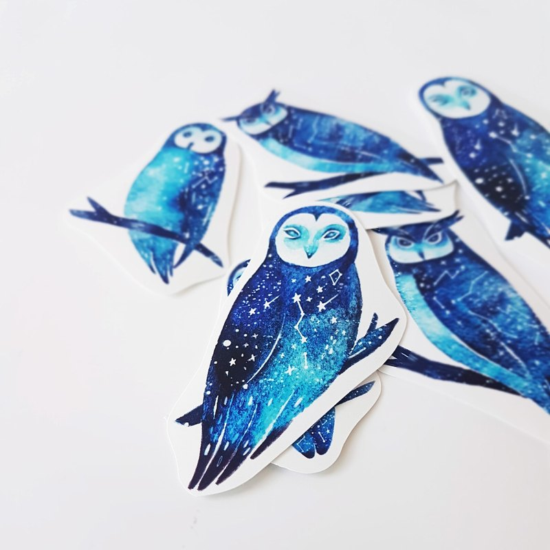 Star owl sticker set