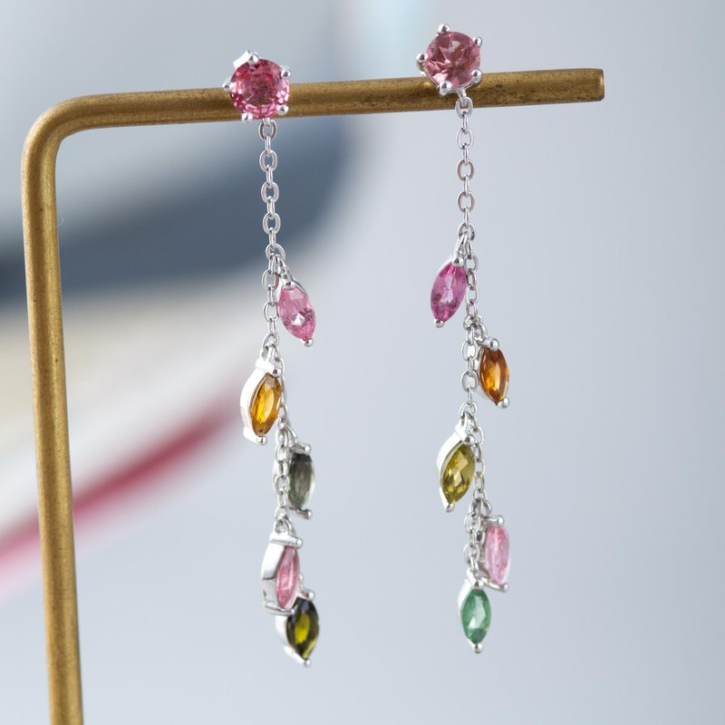 Pink Tourmaline, 925 Sterling Silver, Natural Gemstone Crystal Earrings
