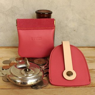 Set of Coin Bag & Key Case - Pink + Ivory Strap (Genuine Cow Leather)