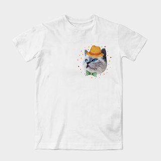 Neutral short-sleeved T-Shirt adorable cat dragged Contributed by Earl King | Z999UT028