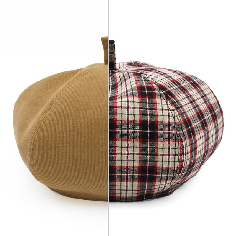/Handmade beret hat/ Ochre corduroy and beige plaid cotton reversible