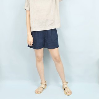 [] HIKIDASHI pleated shorts. Deep Blue