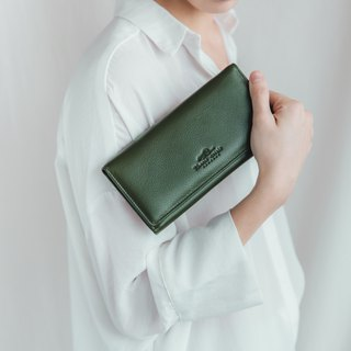 POPPY - WOMAN LONG LEATHER WALLET-DARK GREEN