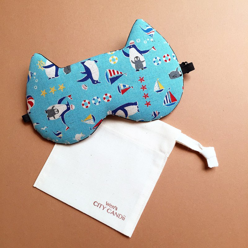 Summer Penguins Sleep Mask - Blue (Adjustable Elastic Band)