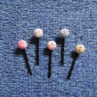 (C) _ blossoming colorful cloth buttons small hairpin C20ASY91