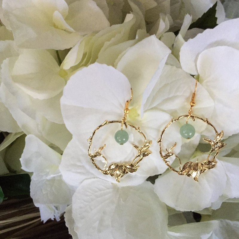 Gold-Tone Leaf Roundel Aventurine Earrings