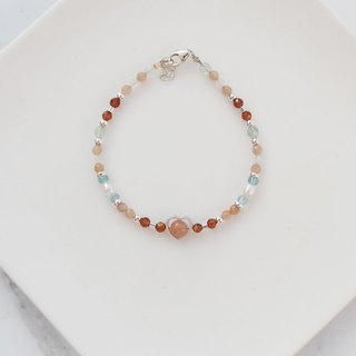 Big staff Taipa [manual silver] fluorite × sun stone × apatite natural stone energy sterling silver bracelet