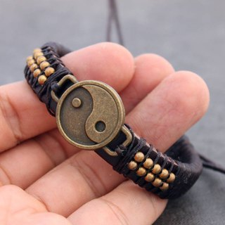 Leather Beaded Bracelets Men Unisex Charm Brass Yin Yang Symbol Adjsutable