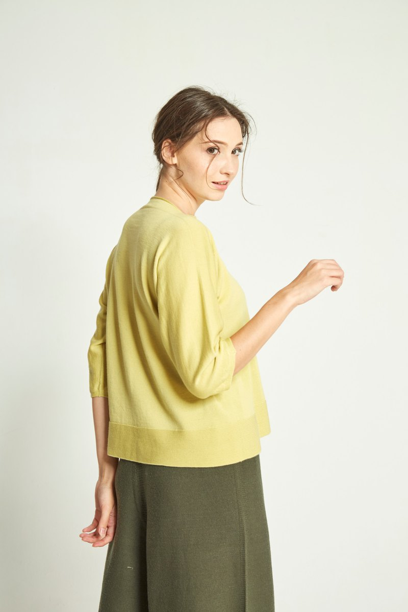One-piece collar cropped sleeve top (Lyme yellow) 192W2SH02GN-F