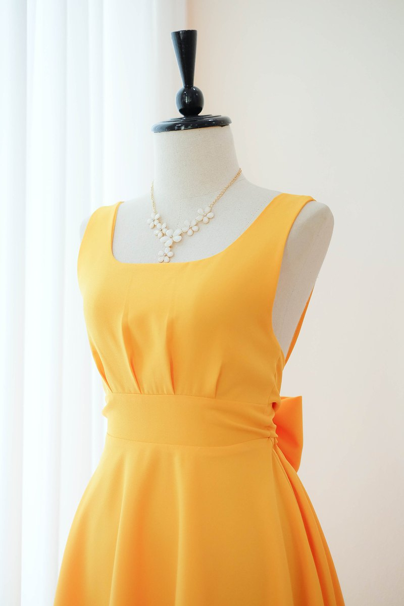 Hot Yellow Dress Prom Dress Bridesmaid Dress Cocktail Backless Mid length