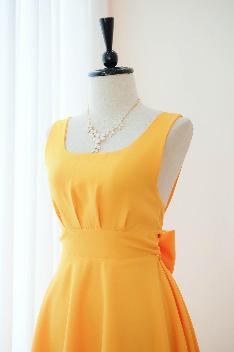 熱黃色連衣裙舞會禮服伴娘禮服雞尾酒露背中長