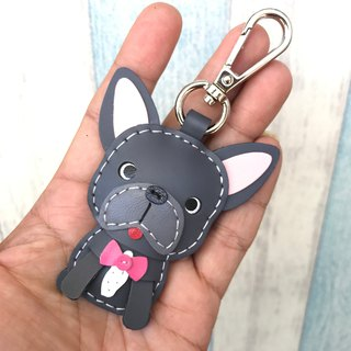 Handmade leather dark gray law dog pure hand-stitched leather keychain small size