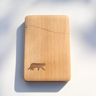 "name-card holder  ""cat""  Beech and Walnut"