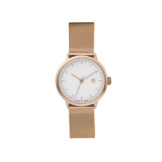 Nando Mini Rose Gold White Dial - Rose Gold Milan with Adjustable Watch
