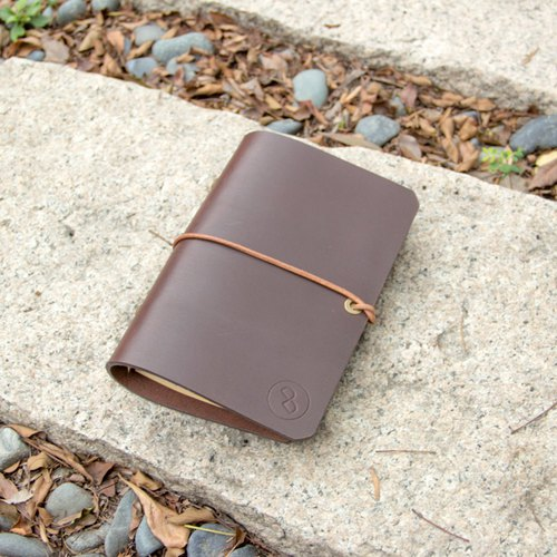 DUAL mellow 3mm leather simple handle A6 - deep coffee